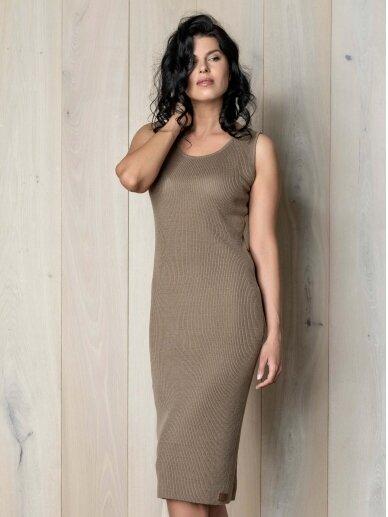 AG design ruda plono mezgimo lino suknelė – Pearl