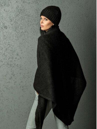 AG DESIGN  Eco line / alpakos vilnos skara ir kepurė, juoda