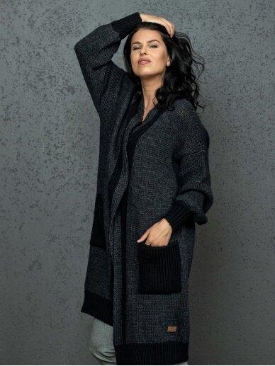AG design ilgas juodas kardiganas su kišenėm Natalie