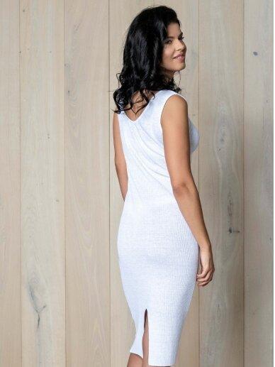AG design balta plono mezgimo lino suknelė – Pearl