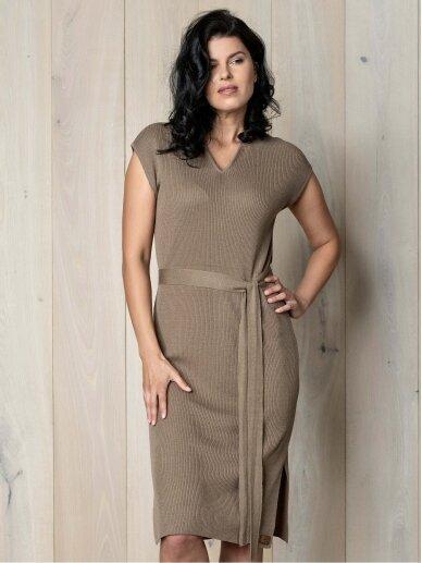 AG design plono mezgimo lino suknelė – Breeze  ruda