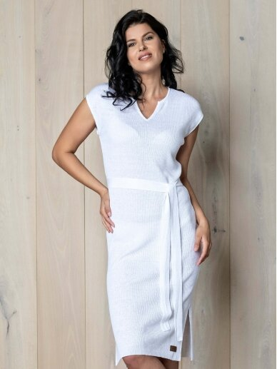 AG design plono mezgimo lino suknelė – Breeze  balta