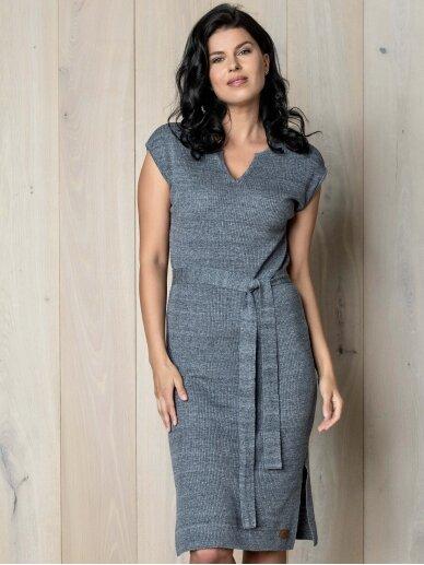 AG design plono mezgimo lino suknelė – Breeze pilka