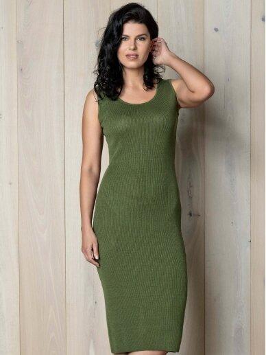 AG design žalia plono mezgimo lino suknelė – Pearl