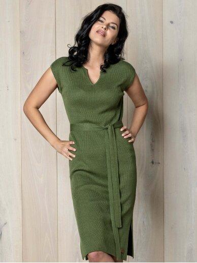 AG design plono mezgimo lino suknelė – Breeze žalia
