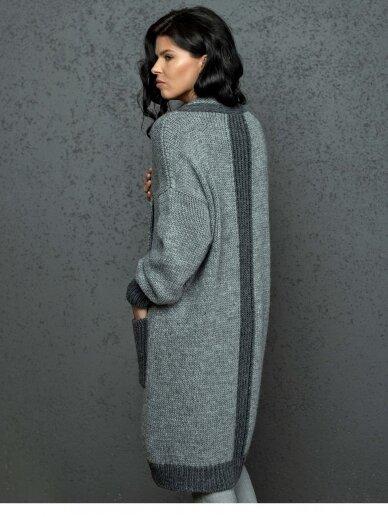 AG design ilgas pilkas kardiganas su kišenėm Natalie