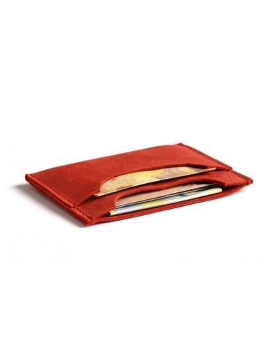 ELF BREAD raudona odinė piniginė/ kortelinė 2