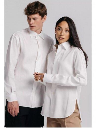 HUGINN MUNINN Uniseksiniai balti Andrumsloft marškiniai