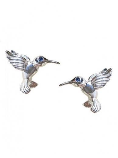 Ingrida Didika Taikomosios dailes dirbinys - auskarai kolibriai su melynais safyrais