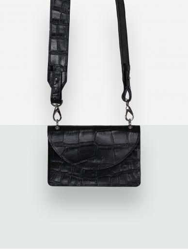 LAVA FLOW  juoda odinė rankinė PELEE (trys rankenų pasirinkimai)