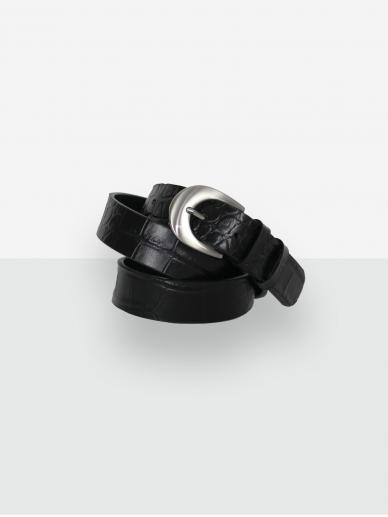 LAVA FLOW juodas odinis moteriškas diržas Fossa croco