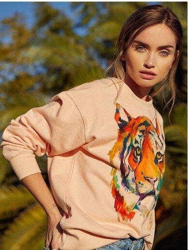 SILE rožinis medvilnės džemperis TIGER KATO