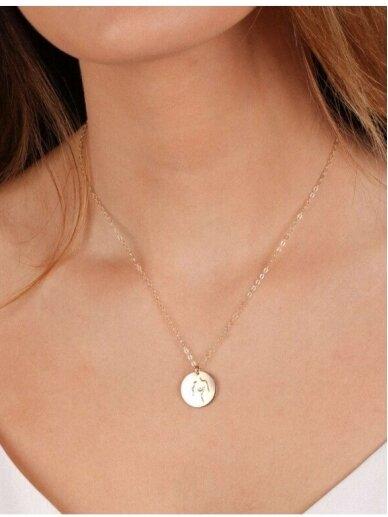 vdlg.aksesuarai Apvalus graviruotas rankų darbo kaklo papuošalas - Moteris (krūtinė) 2