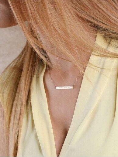 """vdlg.aksesuarai Minimalistinio stiliaus graviruotas rankų darbo kaklo papuošalas - Plokštelė """" BELIEVE"""""""