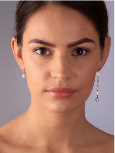 vdlgaksesuarai asimetriniai auskarai su gėlavandeniais perlais 2