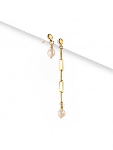 vdlgaksesuarai asimetriniai auskarai su gėlavandeniais perlais