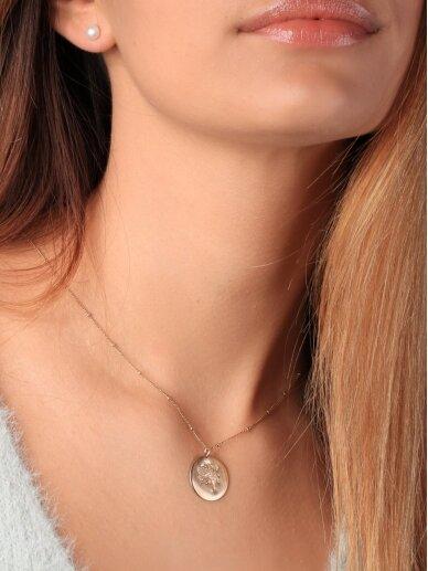 vdlg.aksesuarai puošnus minimalistinis kaklo papuošalas – Medalionas Gėlė 2