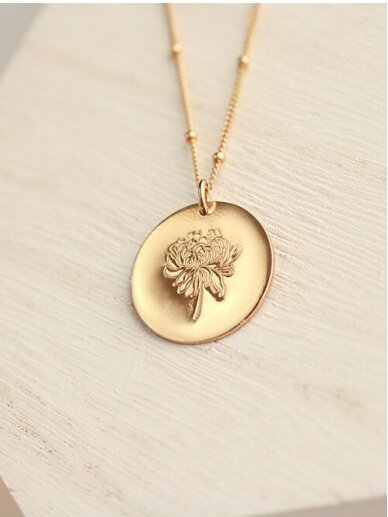 vdlg.aksesuarai puošnus minimalistinis kaklo papuošalas – Medalionas Gėlė