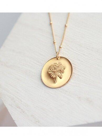 vdlg.aksesuarai puošnus minimalistinis kaklo papuošalas – Medalionas Gėlė 3